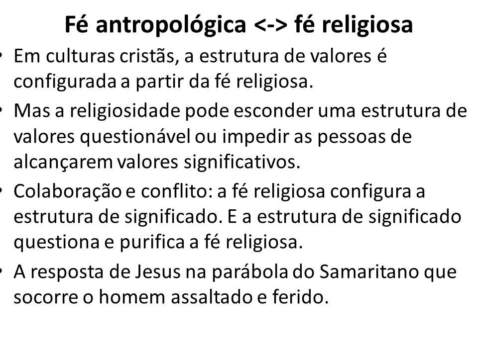 Fé antropológica fé religiosa Em culturas cristãs, a estrutura de valores é configurada a partir da fé religiosa. Mas a religiosidade pode esconder um