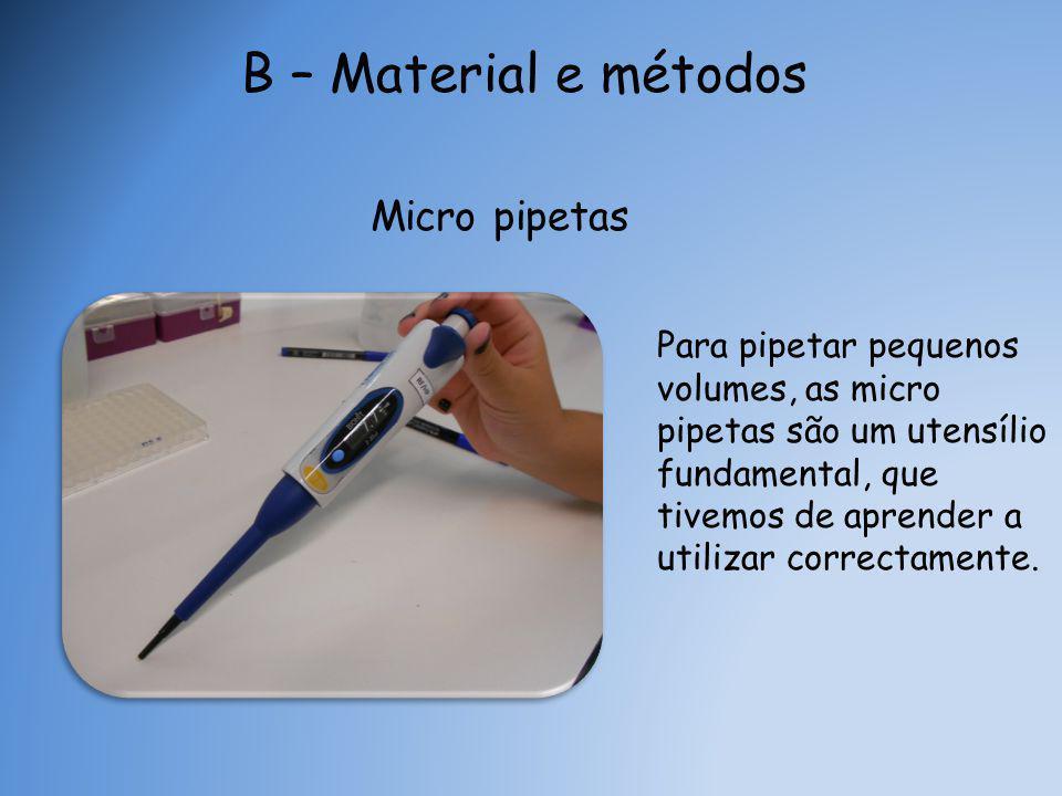 Micro pipetas Para pipetar pequenos volumes, as micro pipetas são um utensílio fundamental, que tivemos de aprender a utilizar correctamente.