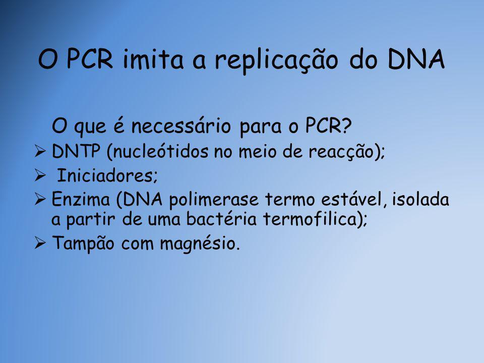 O PCR imita a replicação do DNA O que é necessário para o PCR.