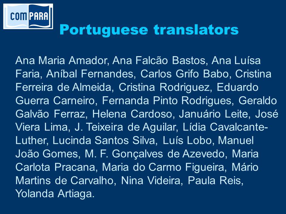 Portuguese translators Ana Maria Amador, Ana Falcão Bastos, Ana Luísa Faria, Aníbal Fernandes, Carlos Grifo Babo, Cristina Ferreira de Almeida, Cristi