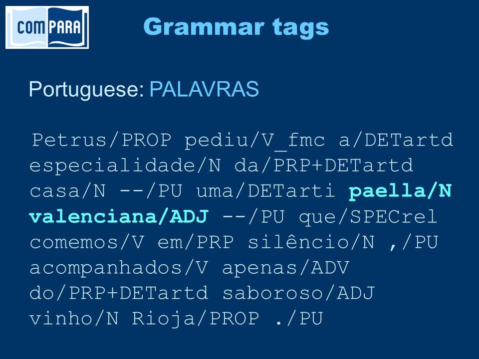Portuguese: PALAVRAS Petrus/PROP pediu/V_fmc a/DETartd especialidade/N da/PRP+DETartd casa/N --/PU uma/DETarti paella/N valenciana/ADJ --/PU que/SPECrel comemos/V em/PRP silêncio/N,/PU acompanhados/V apenas/ADV do/PRP+DETartd saboroso/ADJ vinho/N Rioja/PROP./PU Grammar tags
