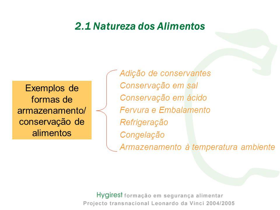 Adição de conservantes Conservação em sal Conservação em ácido Fervura e Embalamento Refrigeração Congelação Armazenamento à temperatura ambiente 2.1 Natureza dos Alimentos Exemplos de formas de armazenamento/ conservação de alimentos