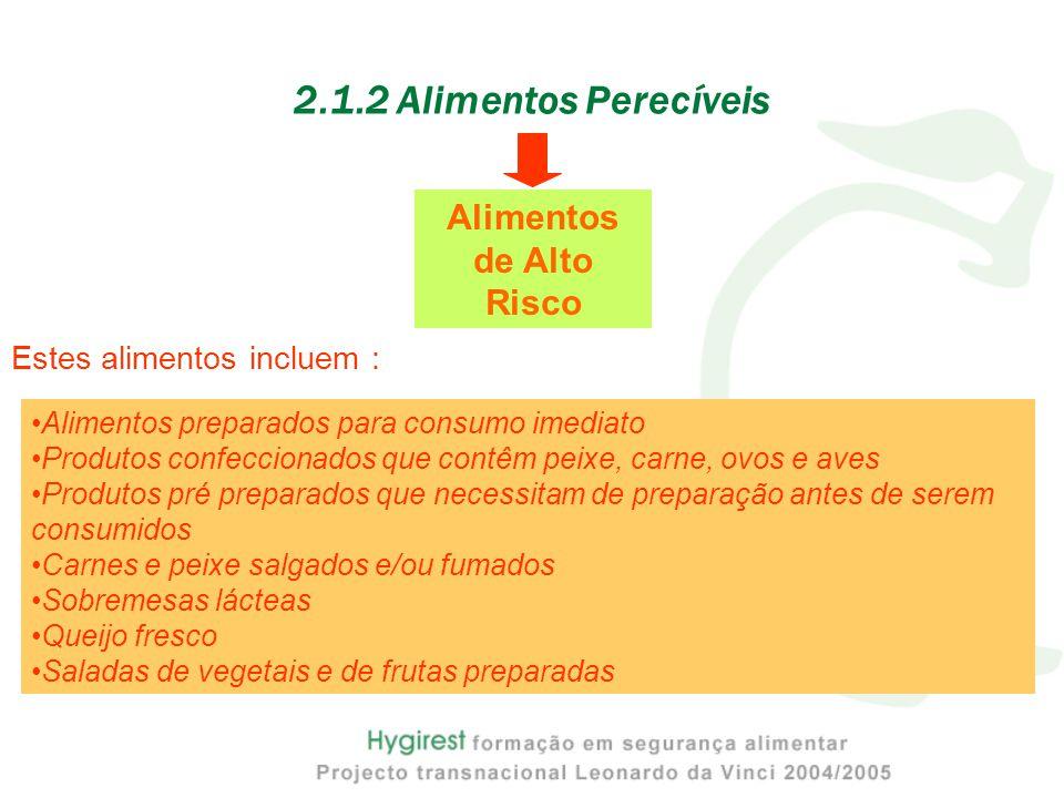 2.1.2 Alimentos Perecíveis Alimentos preparados para consumo imediato Produtos confeccionados que contêm peixe, carne, ovos e aves Produtos pré prepar