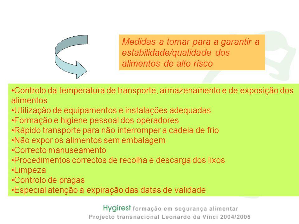 Controlo da temperatura de transporte, armazenamento e de exposição dos alimentos Utilização de equipamentos e instalações adequadas Formação e higien
