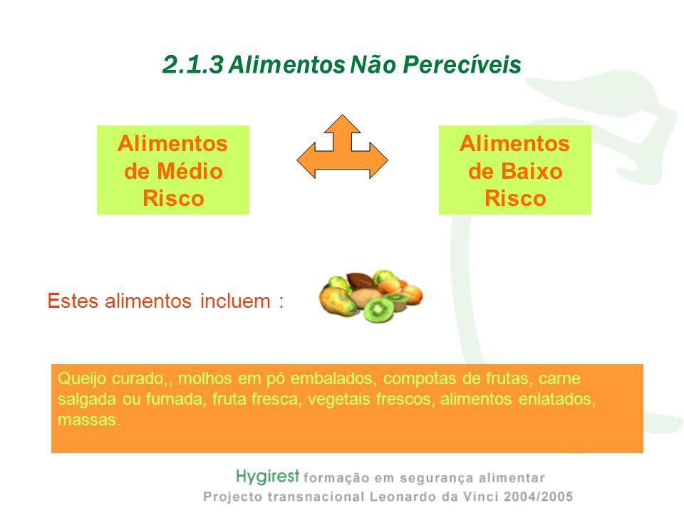 2.1.3 Alimentos Não Perecíveis Alimentos de Médio Risco Alimentos de Baixo Risco Estes alimentos incluem : Queijo curado,, molhos em pó embalados, compotas de frutas, carne salgada ou fumada, fruta fresca, vegetais frescos, alimentos enlatados, massas.