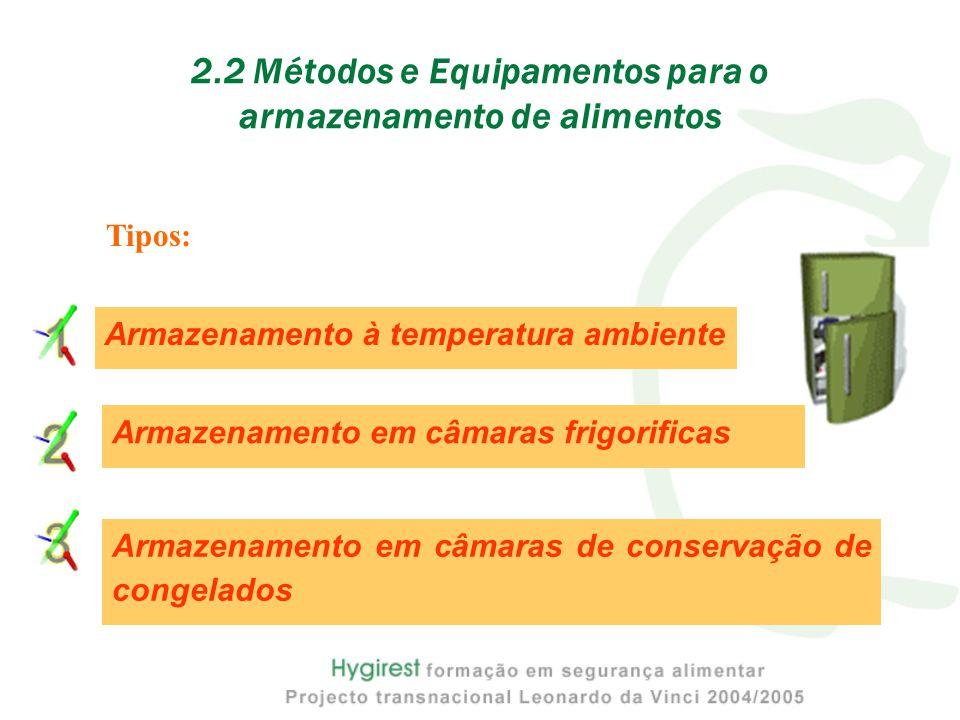 2.2 Métodos e Equipamentos para o armazenamento de alimentos Tipos: Armazenamento em câmaras frigorificas Armazenamento em câmaras de conservação de congelados Armazenamento à temperatura ambiente
