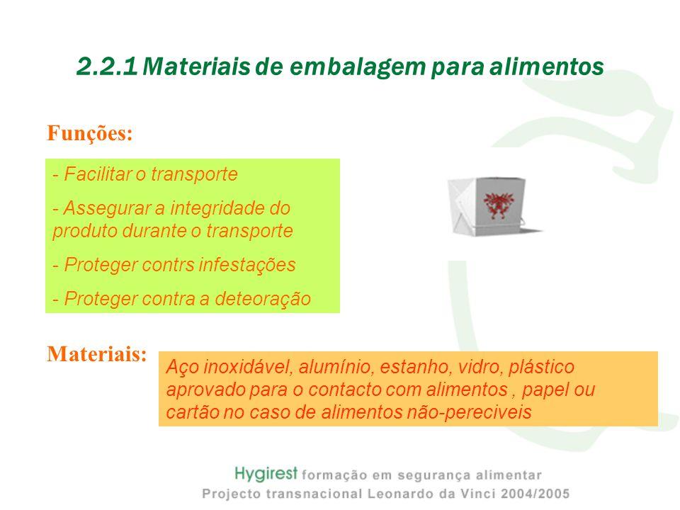Funções: 2.2.1 Materiais de embalagem para alimentos - Facilitar o transporte - Assegurar a integridade do produto durante o transporte - Proteger contrs infestações - Proteger contra a deteoração Materiais: Aço inoxidável, alumínio, estanho, vidro, plástico aprovado para o contacto com alimentos, papel ou cartão no caso de alimentos não-pereciveis