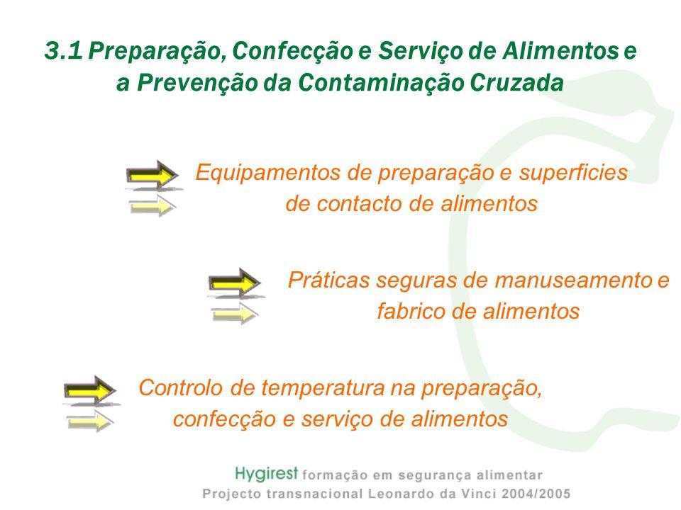 Equipamentos de preparação e superficies de contacto de alimentos 3.1 Preparação, Confecção e Serviço de Alimentos e a Prevenção da Contaminação Cruza