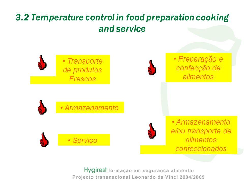 3.2 Temperature control in food preparation cooking and service Transporte de produtos Frescos Armazenamento Preparação e confecção de alimentos Armaz
