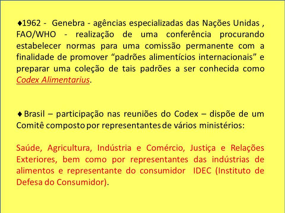  1962 - Genebra - agências especializadas das Nações Unidas, FAO/WHO - realização de uma conferência procurando estabelecer normas para uma comissão