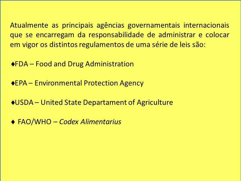 Atualmente as principais agências governamentais internacionais que se encarregam da responsabilidade de administrar e colocar em vigor os distintos regulamentos de uma série de leis são:  FDA – Food and Drug Administration  EPA – Environmental Protection Agency  USDA – United State Departament of Agriculture  FAO/WHO – Codex Alimentarius