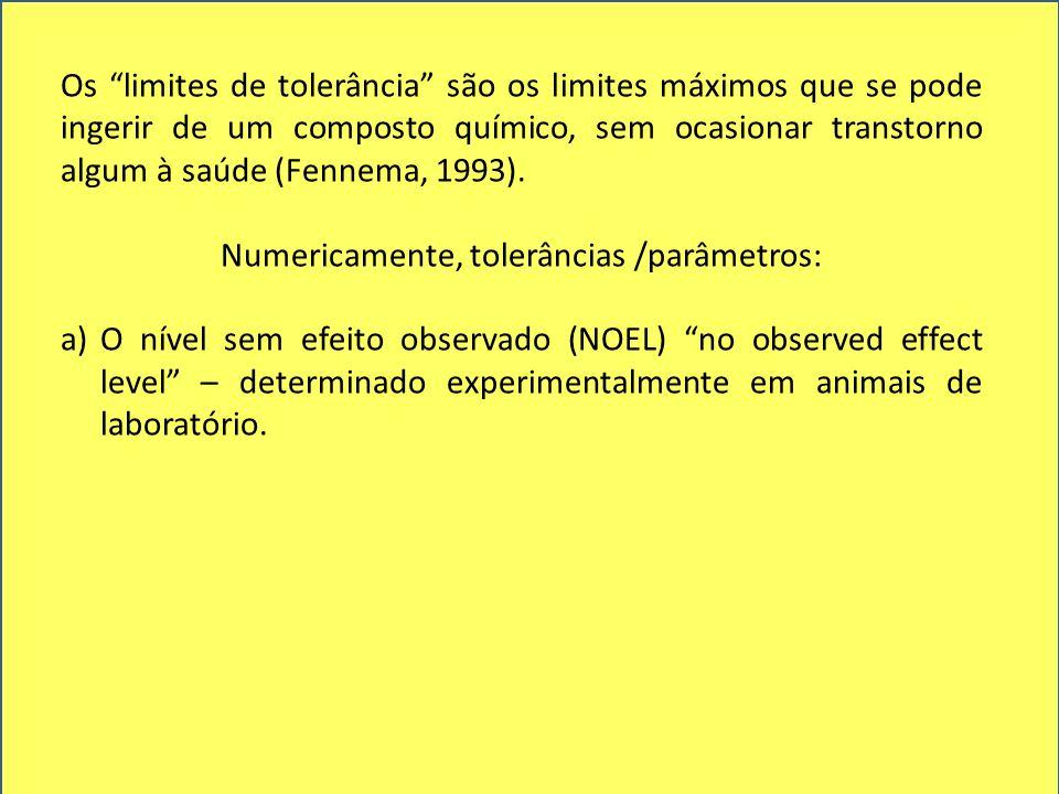 """Os """"limites de tolerância"""" são os limites máximos que se pode ingerir de um composto químico, sem ocasionar transtorno algum à saúde (Fennema, 1993)."""