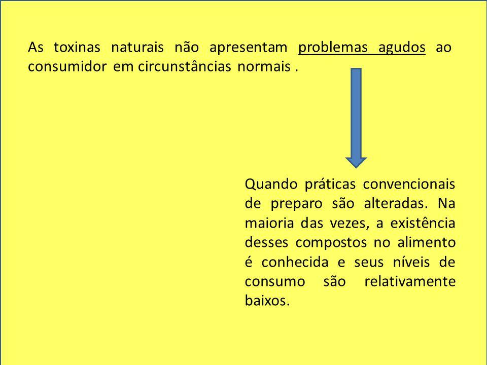 As toxinas naturais não apresentam problemas agudos ao consumidor em circunstâncias normais.