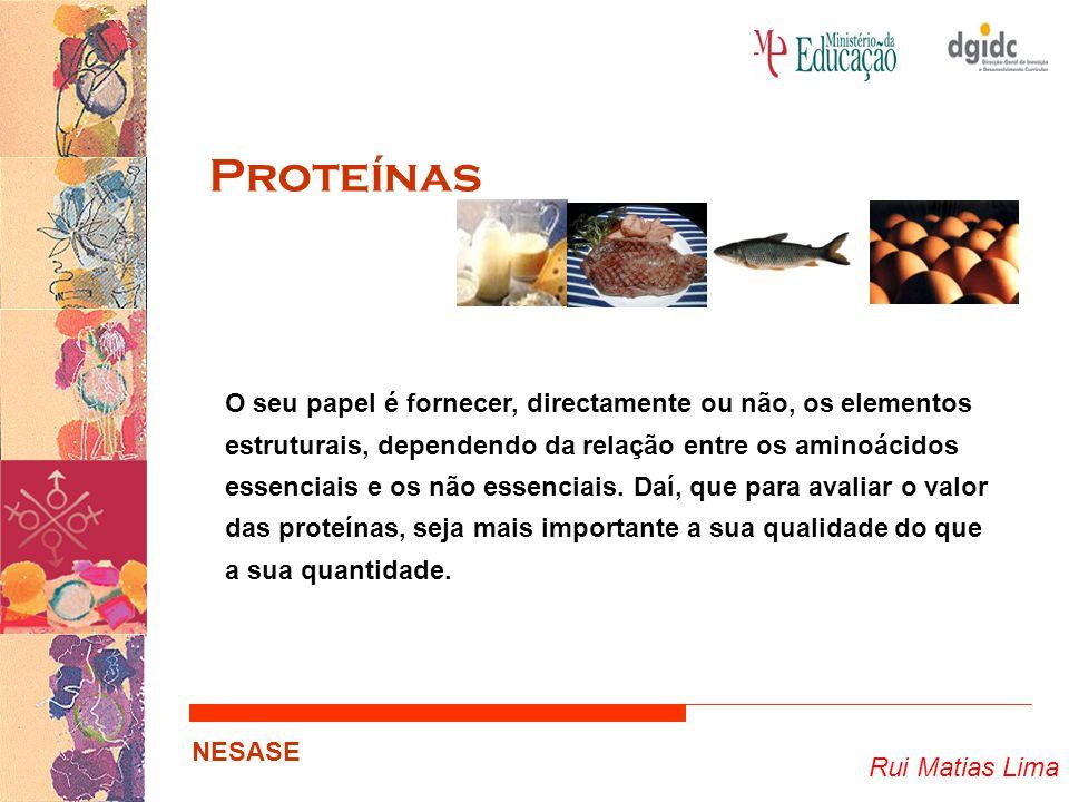 Rui Matias Lima NESASE Proteínas O seu papel é fornecer, directamente ou não, os elementos estruturais, dependendo da relação entre os aminoácidos ess