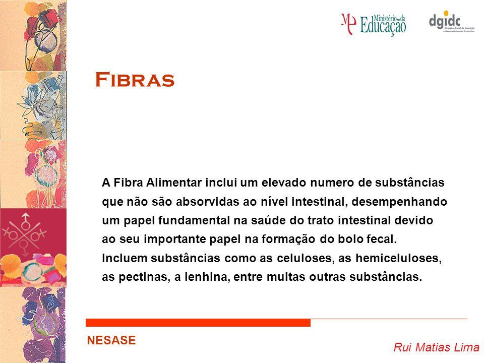 Rui Matias Lima NESASE Fibras A Fibra Alimentar inclui um elevado numero de substâncias que não são absorvidas ao nível intestinal, desempenhando um p