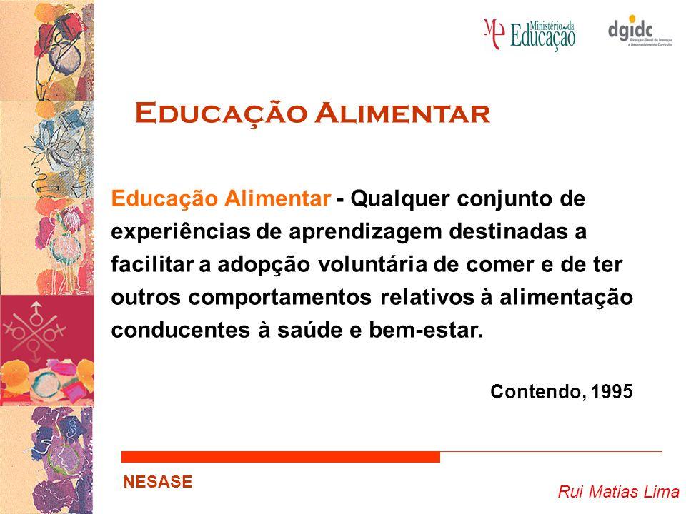 Rui Matias Lima NESASE Educação Alimentar Educação Alimentar - Qualquer conjunto de experiências de aprendizagem destinadas a facilitar a adopção volu