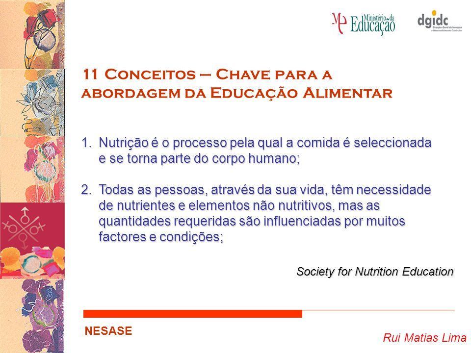 Rui Matias Lima NESASE 11 Conceitos – Chave para a abordagem da Educação Alimentar 1.Nutrição é o processo pela qual a comida é seleccionada e se torn