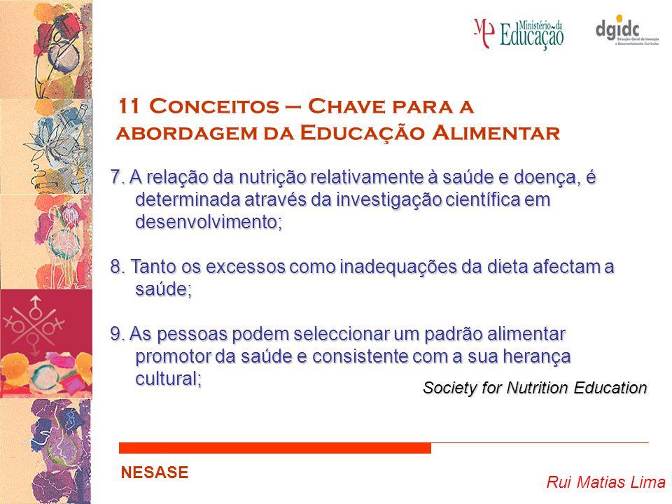 Rui Matias Lima NESASE 11 Conceitos – Chave para a abordagem da Educação Alimentar 7. A relação da nutrição relativamente à saúde e doença, é determin