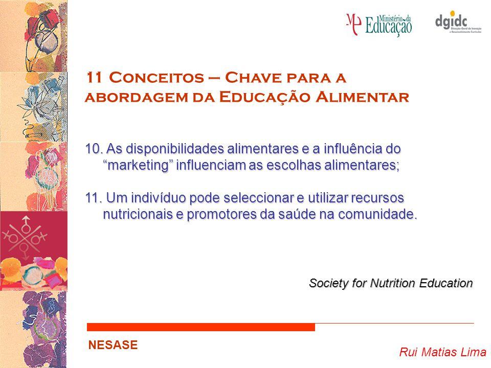 """Rui Matias Lima NESASE 11 Conceitos – Chave para a abordagem da Educação Alimentar 10. As disponibilidades alimentares e a influência do """"marketing"""" i"""