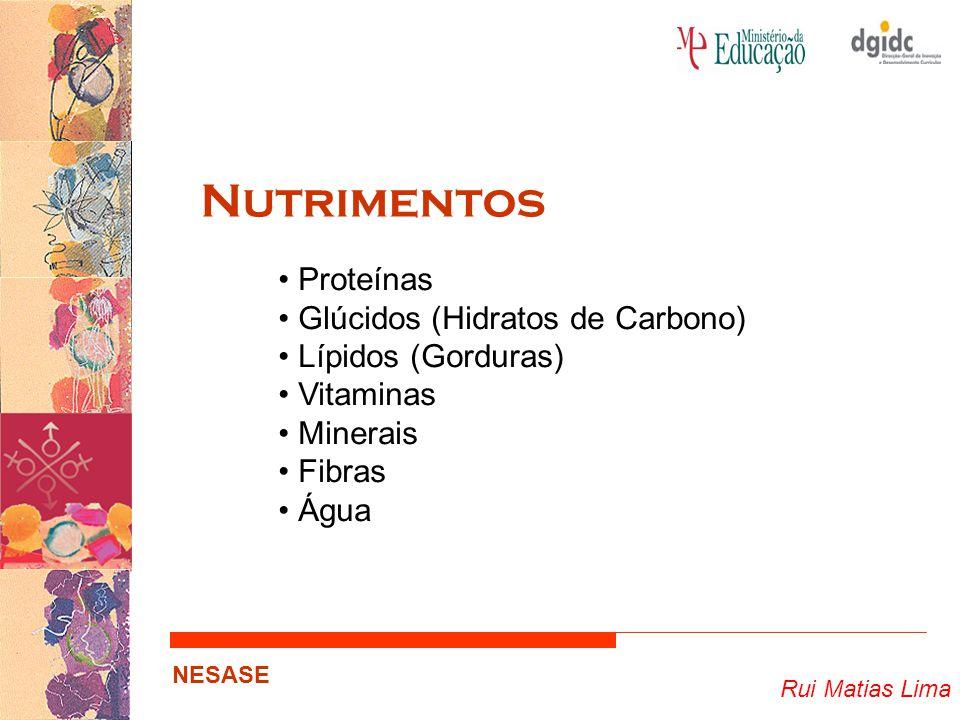 Rui Matias Lima NESASE Nutrimentos Proteínas Glúcidos (Hidratos de Carbono) Lípidos (Gorduras) Vitaminas Minerais Fibras Água