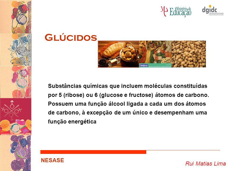 Rui Matias Lima NESASE Glúcidos Substâncias químicas que incluem moléculas constituídas por 5 (ribose) ou 6 (glucose e fructose) átomos de carbono. Po