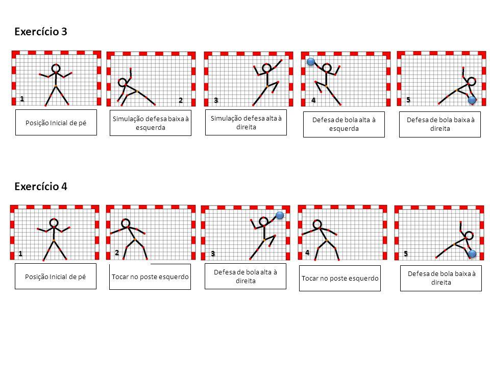 67 1 3 Posição Inicial de pé Tocar no poste esquerdo Defesa de bola baixa à direita Defesa de bola alta à direita Tocar no poste esquerdo Exercício 5 2 5 4 Defesa de bola a meia altura à direita