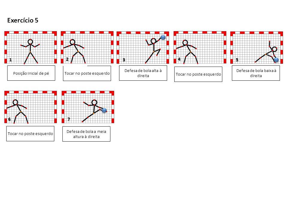 7 5 1 3 Posição Inicial de pé Tocar no poste esquerdo Tocar no poste direito Defesa de bola alta à direita Defesa de bola baixa à esquerda Exercício 6 2 4 6 Defesa de bola alta à esquerda Defesa de bola baixa à direita