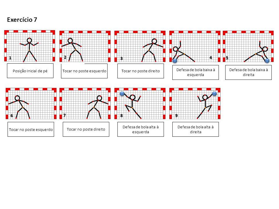 6 5 1 3 Posição Inicial de pé Salto vertical com elevação dos joelhos ao peito Defesa de bola baixa à direita Tocar no poste direito Defesa de bola baixa à esquerda Exercício 8 2 4 Salto vertical com elevação dos joelhos ao peito Tocar no poste direito 7 98 Defesa de bola alta à direita Defesa de bola alta à esquerda