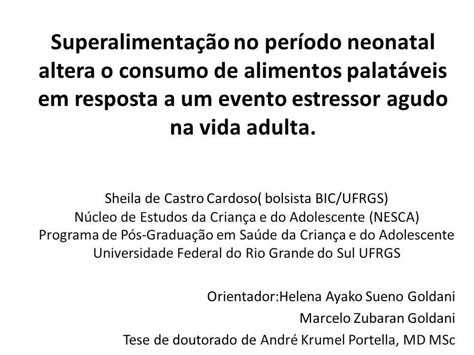 Superalimentação no período neonatal altera o consumo de alimentos palatáveis em resposta a um evento estressor agudo na vida adulta. Sheila de Castro