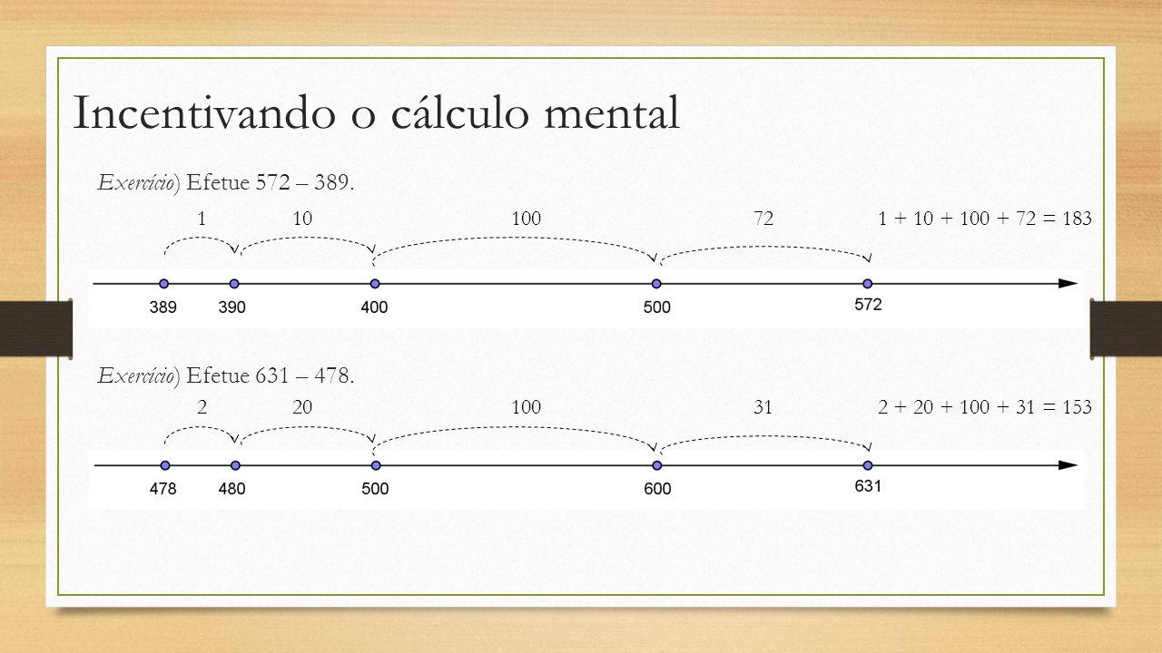 Incentivando o cálculo mental Exercício) Efetue 572 – 389. 110100721 + 10 + 100 + 72 = 183 Exercício) Efetue 631 – 478. 220100312 + 20 + 100 + 31 = 15