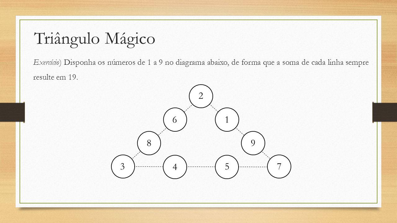 Triângulo Mágico Exercício) Disponha os números de 1 a 9 no diagrama abaixo, de forma que a soma de cada linha sempre resulte em 19. 2 6 8 3 4 5 7 9 1
