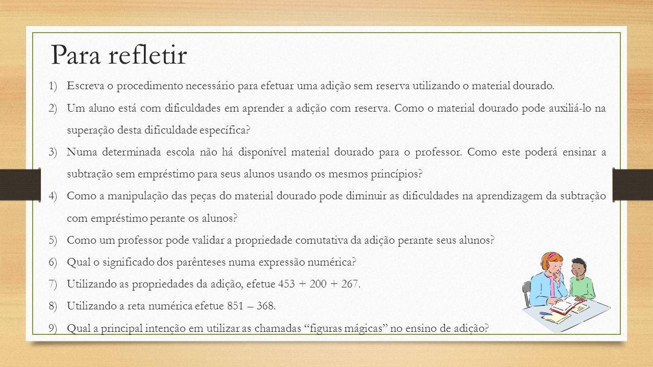 Para refletir 1)Escreva o procedimento necessário para efetuar uma adição sem reserva utilizando o material dourado. 2)Um aluno está com dificuldades