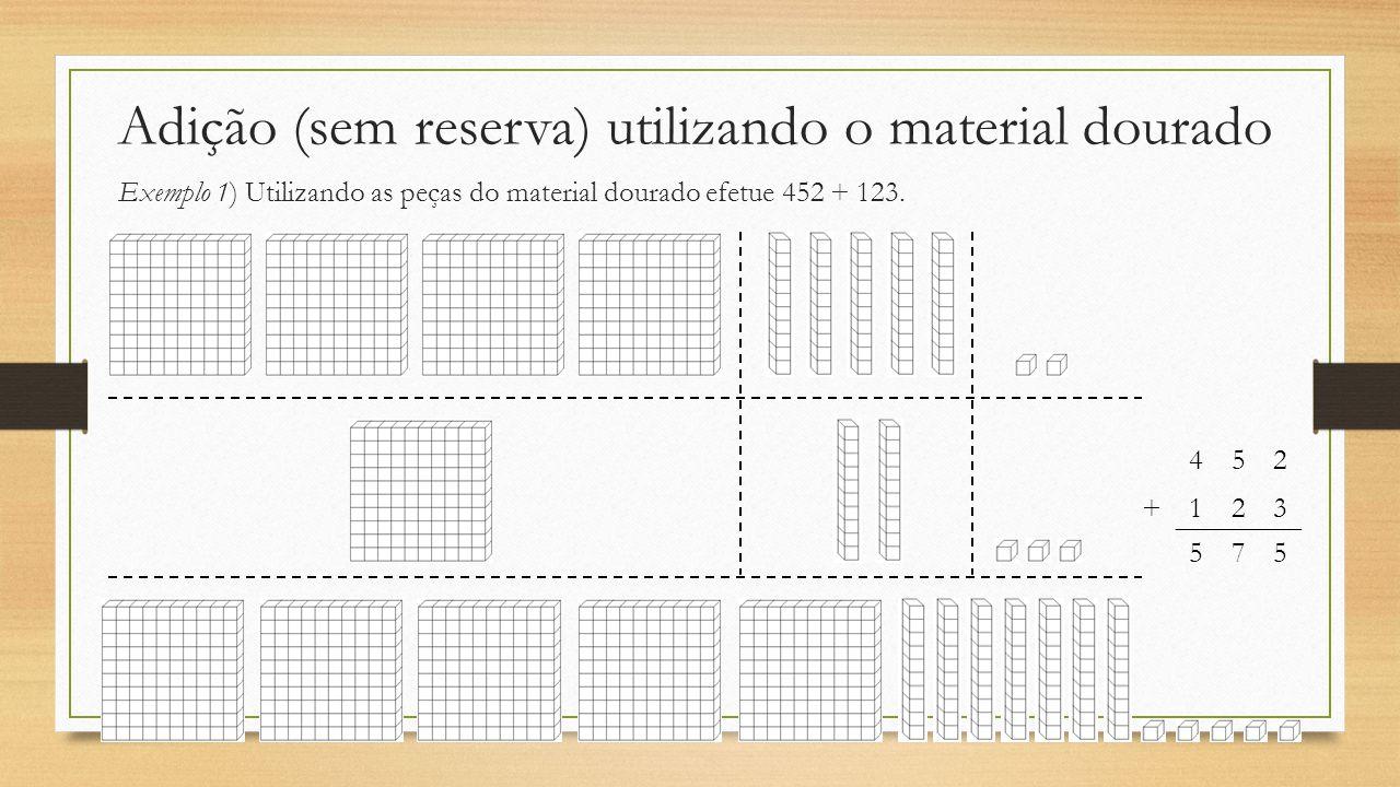Adição (sem reserva) utilizando o material dourado Exemplo 1) Utilizando as peças do material dourado efetue 452 + 123. 452 +123 575