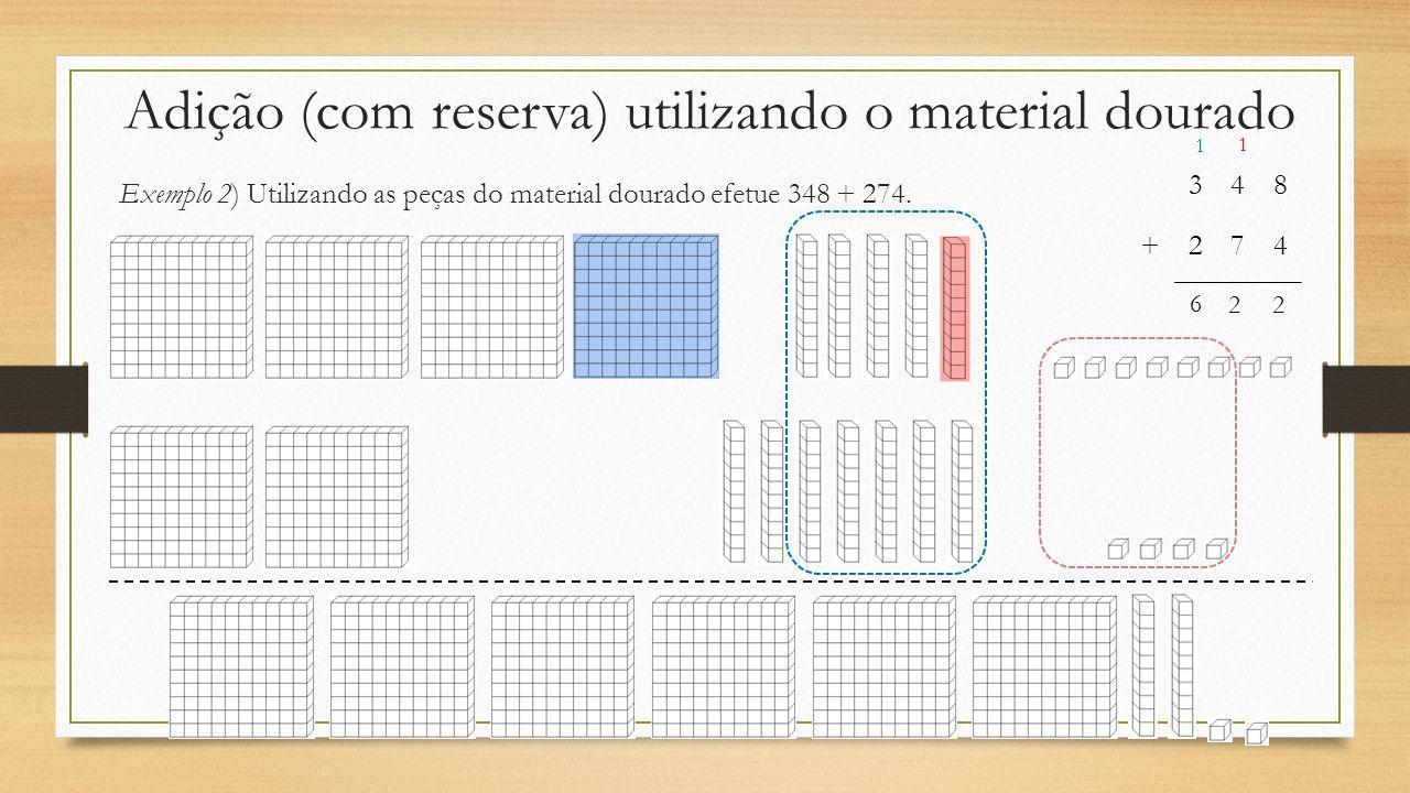 Adição (com reserva) utilizando o material dourado Exemplo 2) Utilizando as peças do material dourado efetue 348 + 274. 348 +274 1 1 22 6