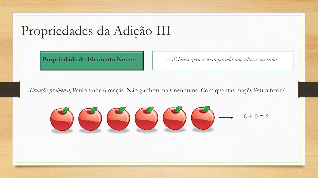 Propriedades da Adição III Propriedade do Elemento Neutro Adicionar zero a uma parcela não altera seu valor. Situação-problema) Paulo tinha 6 maçãs. N