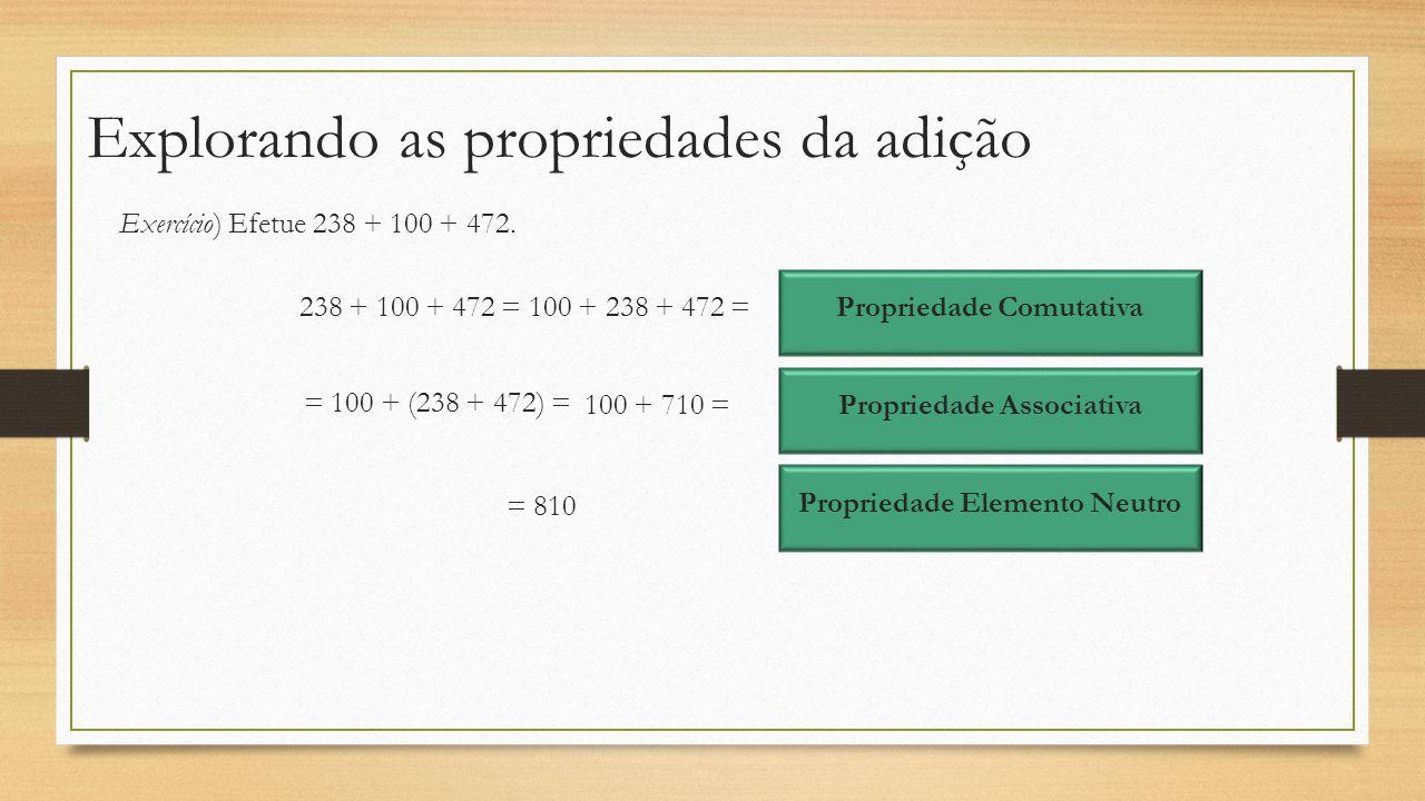 Explorando as propriedades da adição Exercício) Efetue 238 + 100 + 472. 238 + 100 + 472 =100 + 238 + 472 = Propriedade Comutativa = 100 + (238 + 472)