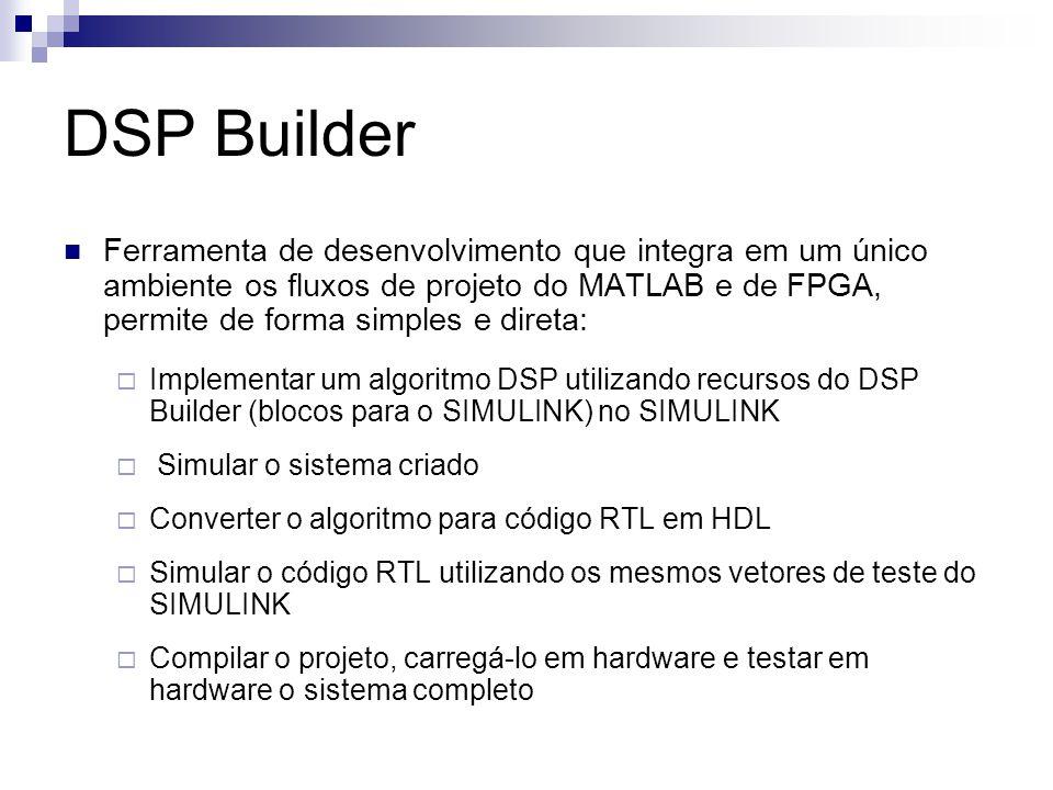 DSP Builder Ferramenta de desenvolvimento que integra em um único ambiente os fluxos de projeto do MATLAB e de FPGA, permite de forma simples e direta