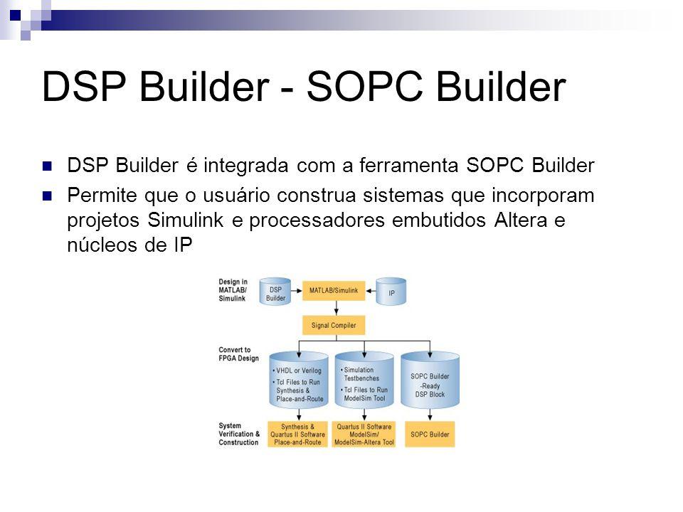 DSP Builder - SOPC Builder DSP Builder é integrada com a ferramenta SOPC Builder Permite que o usuário construa sistemas que incorporam projetos Simul