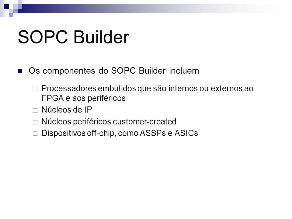 SOPC Builder Os componentes do SOPC Builder incluem  Processadores embutidos que são internos ou externos ao FPGA e aos periféricos  Núcleos de IP 