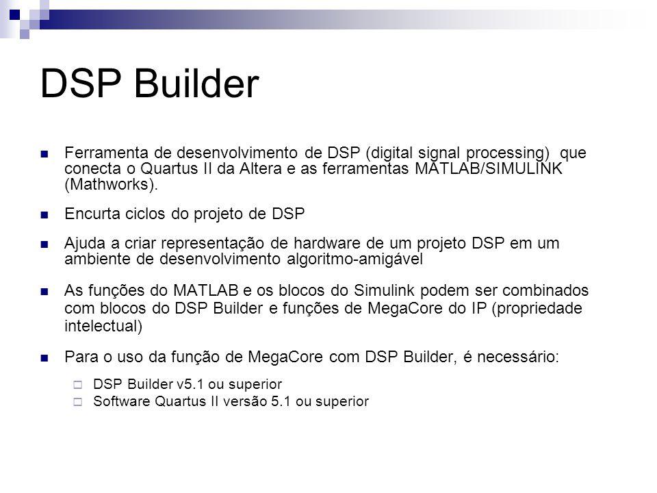 DSP Builder Ferramenta de desenvolvimento de DSP (digital signal processing) que conecta o Quartus II da Altera e as ferramentas MATLAB/SIMULINK (Math