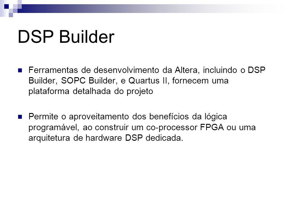 DSP Builder Ferramentas de desenvolvimento da Altera, incluindo o DSP Builder, SOPC Builder, e Quartus II, fornecem uma plataforma detalhada do projet