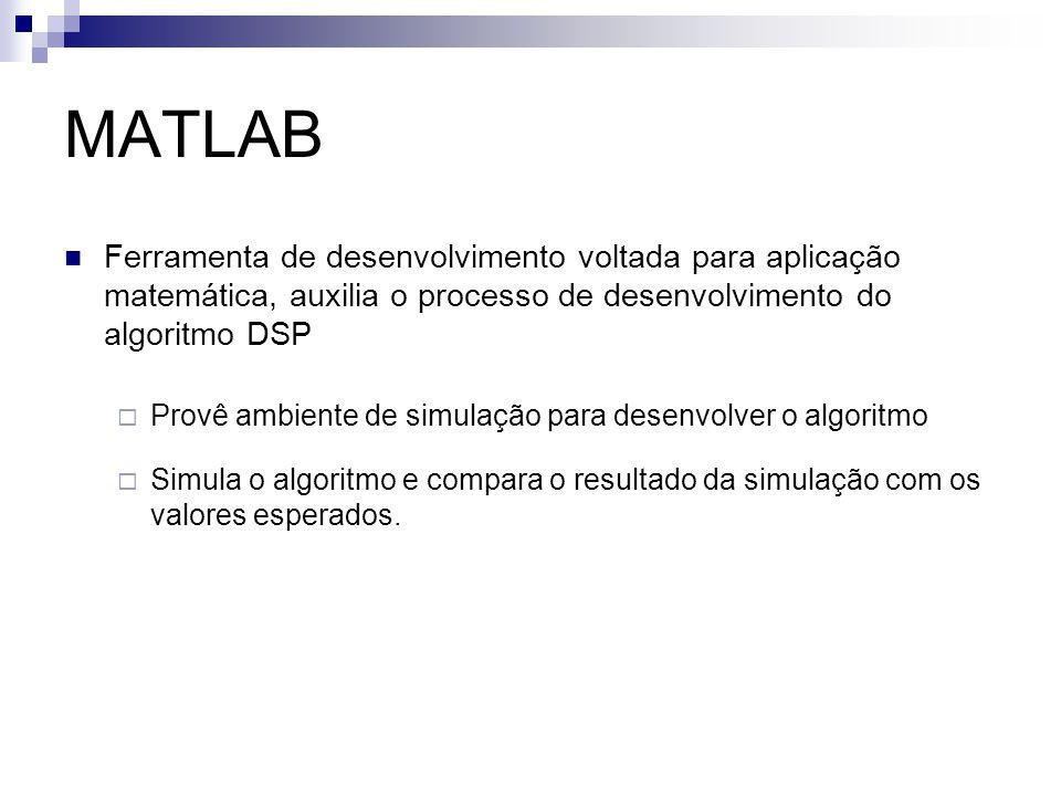 MATLAB Ferramenta de desenvolvimento voltada para aplicação matemática, auxilia o processo de desenvolvimento do algoritmo DSP  Provê ambiente de sim