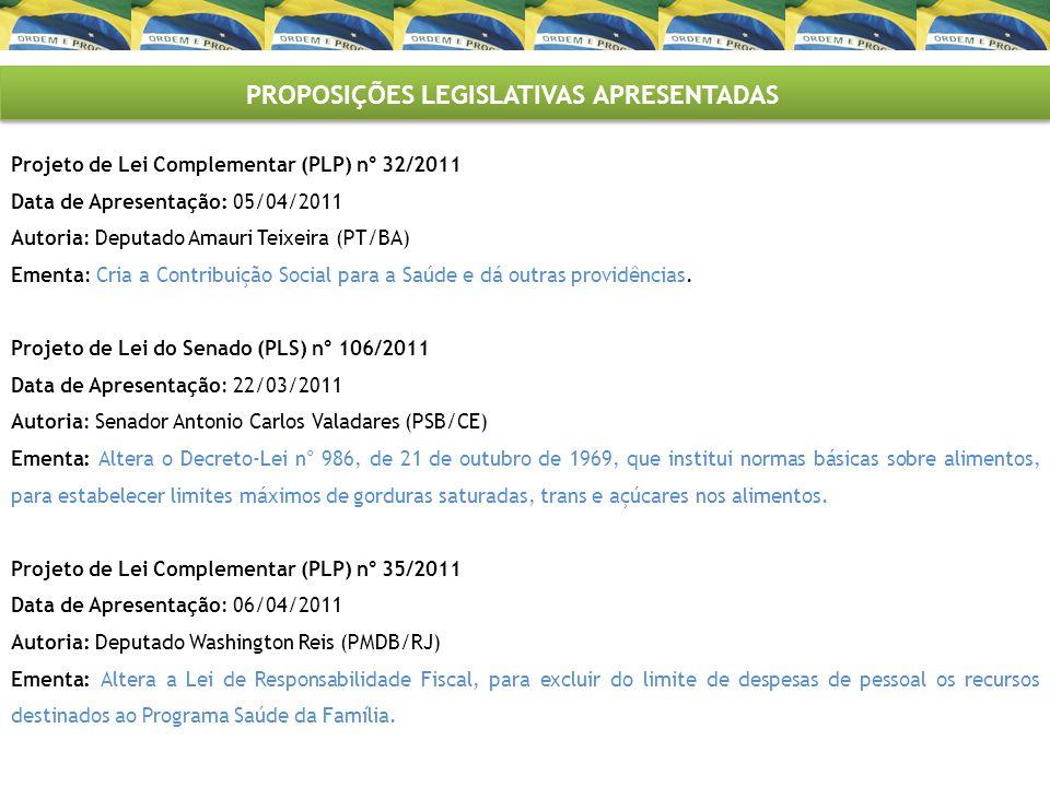 PROPOSIÇÕES LEGISLATIVAS APRESENTADAS Projeto de Lei Complementar (PLP) n° 32/2011 Data de Apresentação: 05/04/2011 Autoria: Deputado Amauri Teixeira