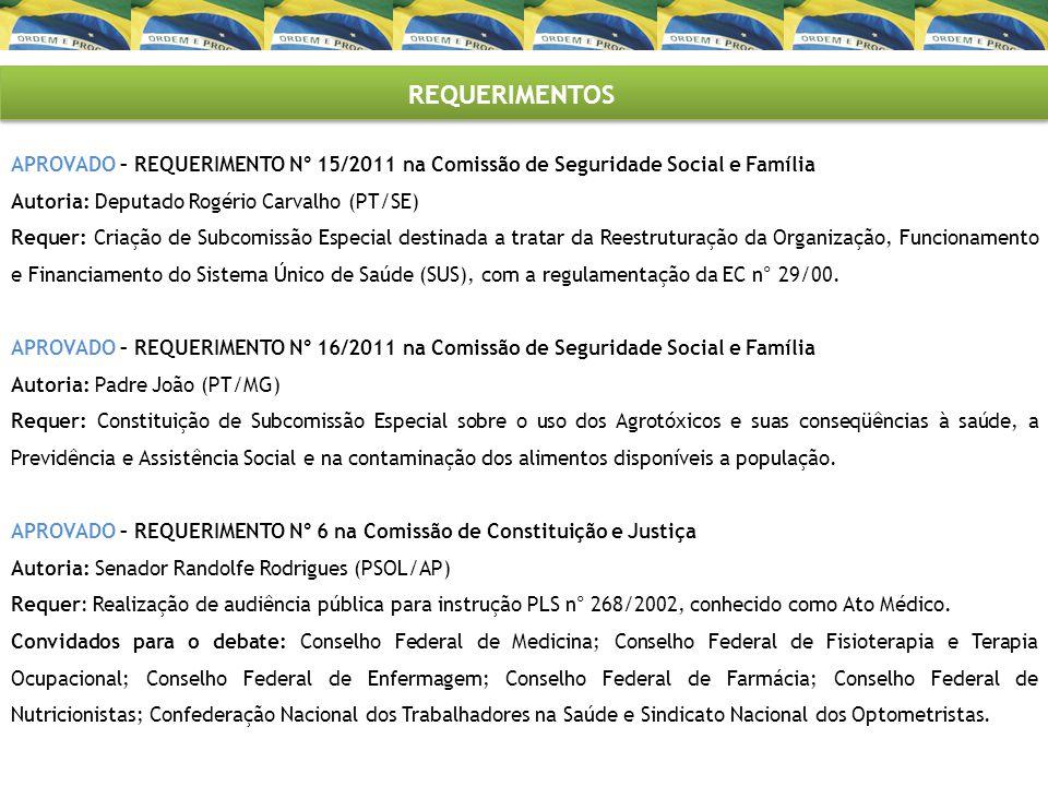 REQUERIMENTOS APROVADO – REQUERIMENTO N° 1/2011 na Comissão de Assuntos Sociais – Subcomissão Permanente em Defesa do Emprego e da Previdência Social (CASEMP) Autoria: Senador Paulo Paim (PT/RS) Requer: Realização de audiência pública no âmbito da CASEMP para ciclo de debates.