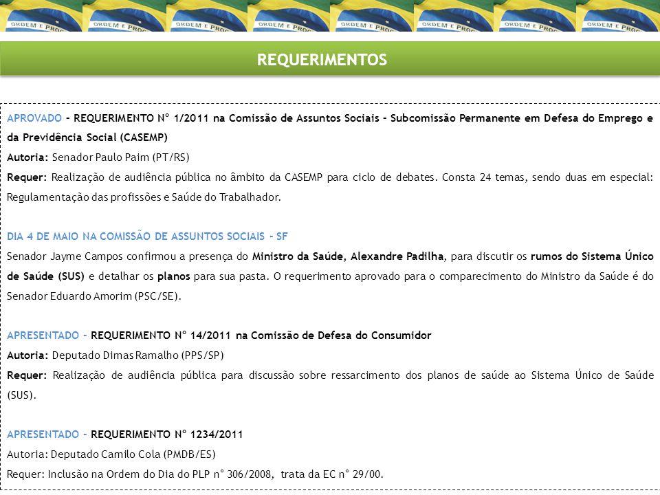 REQUERIMENTOS APROVADO – REQUERIMENTO N° 1/2011 na Comissão de Assuntos Sociais – Subcomissão Permanente em Defesa do Emprego e da Previdência Social