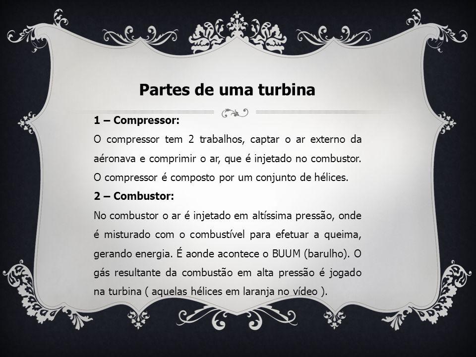 PARTES DE UMA TURBINA 3 – Turbina: O gás em alta pressão, faz com que a turbina se movimente, com isto faz com que o avião se desloque.