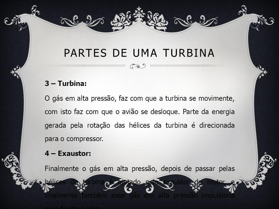 PARTES DE UMA TURBINA 3 – Turbina: O gás em alta pressão, faz com que a turbina se movimente, com isto faz com que o avião se desloque. Parte da energ