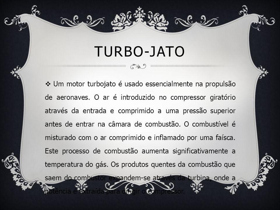 TURBO-JATO  Um motor turbojato é usado essencialmente na propulsão de aeronaves. O ar é introduzido no compressor giratório através da entrada e comp