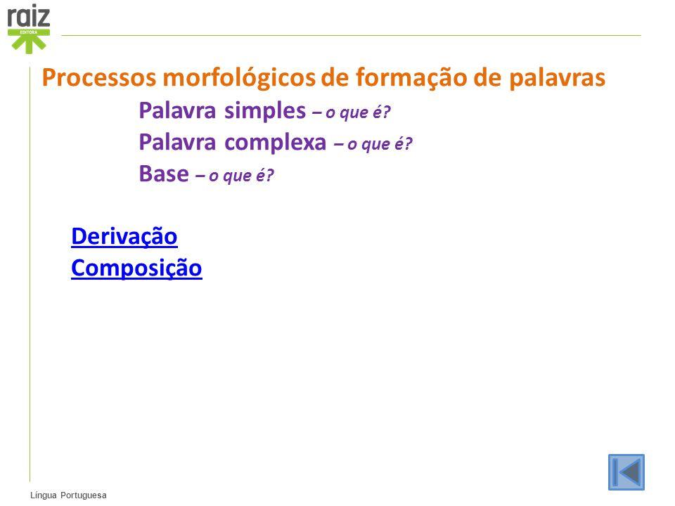 Língua Portuguesa Processos morfológicos de formação de palavras Palavra simples – o que é? Palavra complexa – o que é? Base – o que é? Derivação Comp