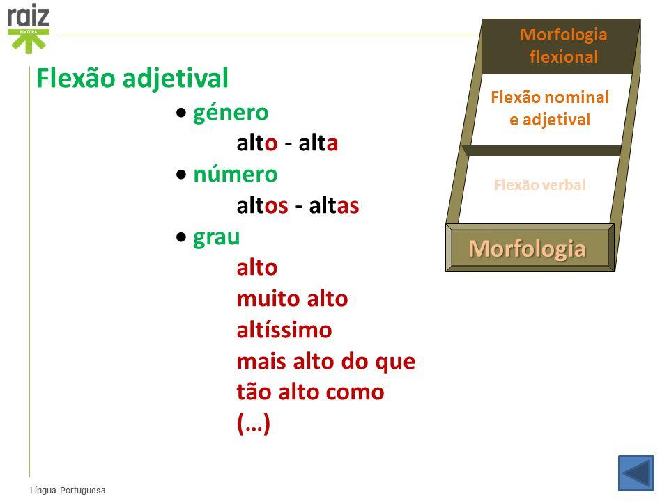 Língua Portuguesa Morfologia Morfologia flexional Flexão nominal e adjetival Flexão verbal Flexão adjetival  género alto - alta  número altos - alta